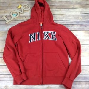 Nike mens red embroidered block logo zip up hoodie